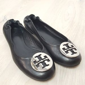 Tory Burch Minnie Ballet Flats Black Silver Size 7